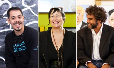 Artists Abdul Abdullah, Joan Ross and Vincent Namatjira.