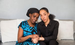 Paulette Wilson, who has lived in the UK for 50 years but is being threatened with deportation to Jamaica, with her daughter Natalie Barnes.