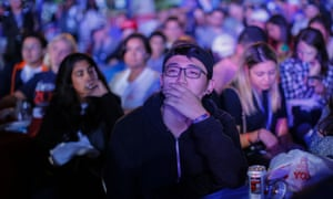 Students watch the first Presidential Debate