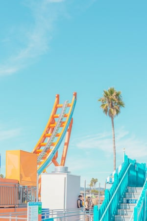 A ride in the fairground of Santa Cruz, California photographed by Australian photographer Ben Thomas.