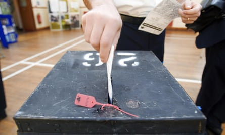 A voter casting his vote in Wandsworth.