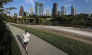 A jogger in Buffalo bayou park in September.