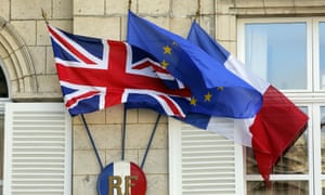 The British , European and French flags in Amiens prefecture, northern France, during a visit earlier this year by then UK prime minister, David Cameron.