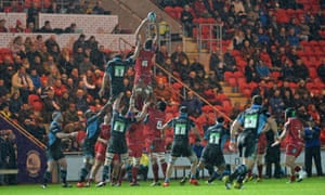 A lineout in appalling conditions at rain-hit Parc y Scarlets as Scarlets face Glasgow Warriors