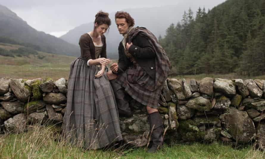 'I'm proud of how we've approached all that on the show' … Caitriona Balfe with Sam Heughan on Outlander.