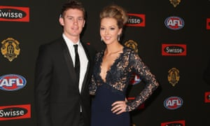 Formal wear Brownlow style. Dayne Beams of the Collingwood Magies and his partner Kelly Meehan attend the 2014 Brownlow Medal at Crown Palladium.
