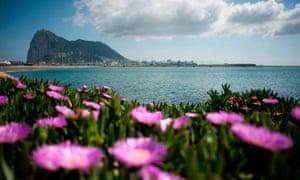 The Rock of Gibraltar seen from La Linea de la Concepcion near the southern Spanish city of Cadiz.