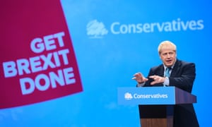 Boris Johnson giving his keynote speech at the Conservative Party Conference in Manchester.