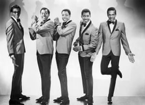 David Ruffin, Melvin Franklin, Paul Williams, Otis Williams and Eddie Kendricks of the Temptations pose for a portrait in 1965.