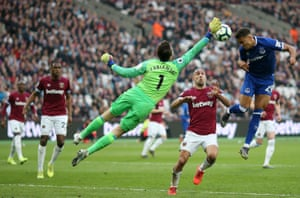 Lukasz Fabianski of West Ham United reaches for the ball as Dominic Calvert-Lewin of Everton jumps for a header. Everton won 2-0 away at The London Stadium.