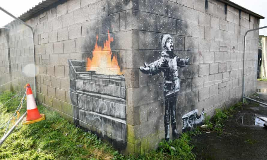 Banksy's Season's Greetings mural was discovered on the wall of a steelworker's garage in Port Talbot.