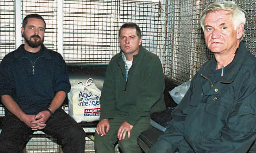 Niall Connolly (left), Martin McCauley (centre) and James Monaghan in Bogota, Colombia, after their arrest in 2001