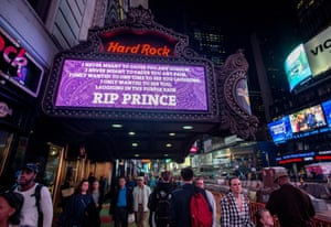 Prince lyrics in tribute at Times Square Hard Rock Cafe in New York