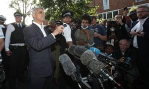 Sadiq Khan speaks to the media on Thursday night.