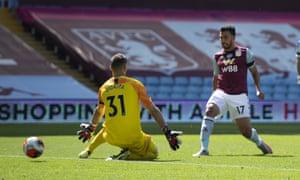Trezeguet of Aston Villa scores his second goal.