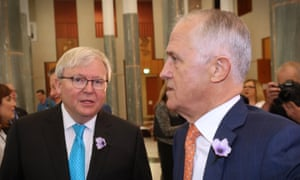 Malcolm Turnbull and Kevin Rudd in the great hall of Parliament House