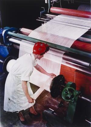 Preparing a Warp from Nylon Yarn, British NylonSpinners, Pontypool, Wales, 1964.
