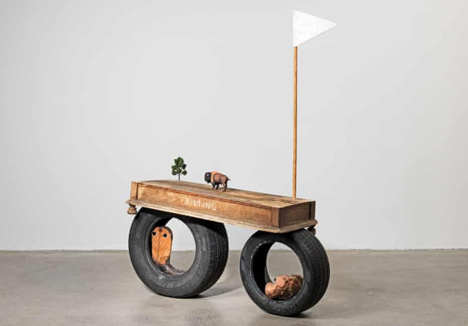 Y'All Started This Shit Anyway, a mixed-media sculpture resembling a wagon, made in 2021.