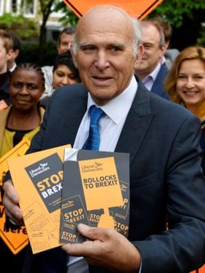 Vince Cable with Lib Dem election leaflets.