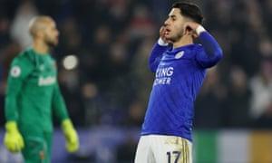 Leicester City's Ayoze Perez celebrates scoring their third goal.