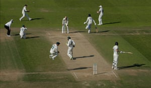 England's Ben Stokes watches Nathan Lyon of Australia misfield as he attempts to run-out Jack Leach during day four of the third Ashes test match at Headingley.