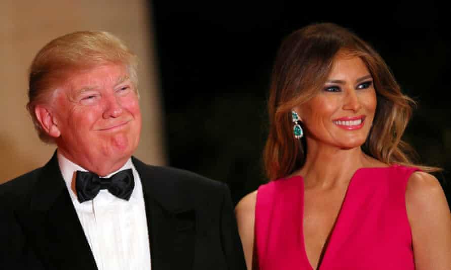Donald Trump and first lady Melania Trump at Mar-a-Lago club in Palm Beach on Saturday.