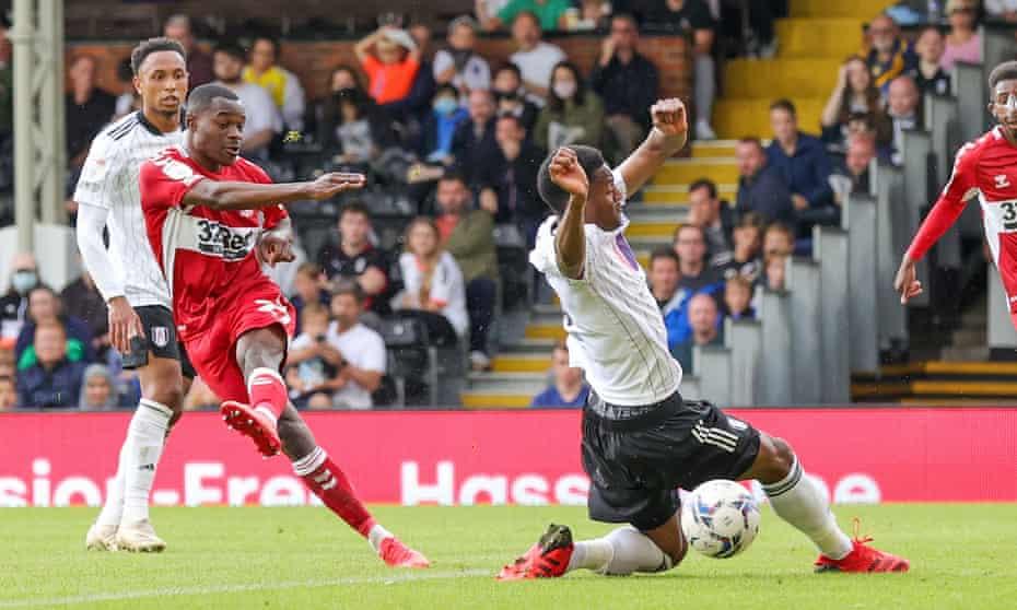 Marc Bola equalises for Middlesbrough against Fulham