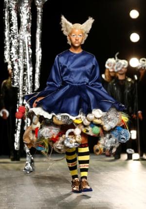 A model in a cluttered petticoat.