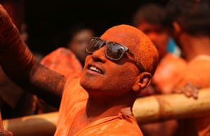 A Nepalese man wears sunglasses