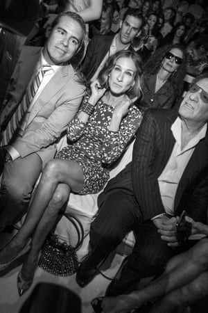 Andy Cohen, Sarah Jessica Parker and Barry Diller at the Diane von Furstenberg fashion show in New York, 2012