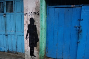 M.I.S.S.I.N.G., a nation-wide public art project dedicated to the estimated 1.2 million female children who remain missing in India each year as victims of commercial sex trafficking in Kalighat, South Kolkata