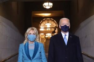 Joe Biden and Jill Biden arrive at his Biden's inauguration at the US Capitol on 20 January 2021 in Washington DC