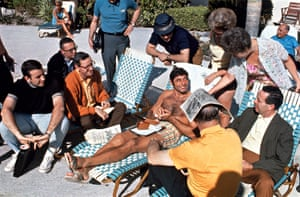 Joe Namath, New York Jets quarterback, relaxes with fans and the press before the Super Bowl in Fort Lauderdale, Florida, 1969.
