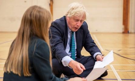 Boris Johnson visits Castle Rock school in Coalville.