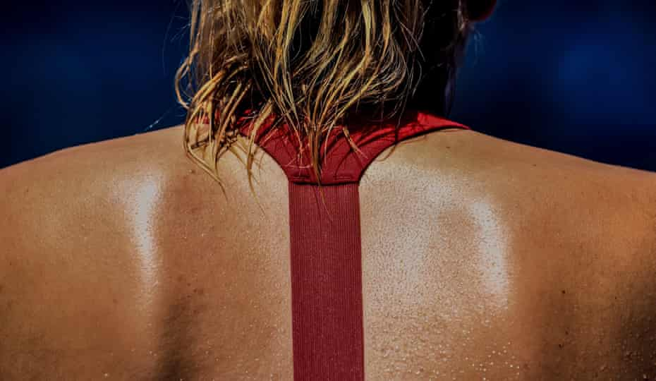 The back of Maria Sharapova of Russia, as she plays against Alexandra Panova, also of Russia, during their second round match at the Australian Open Grand Slam tennis tournament in Melbourne, Australia, 21 January 2015
