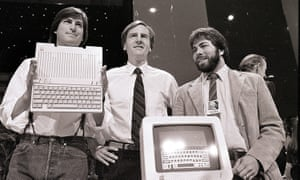 Steve Wozniak, right, with Steve Jobs and John Sculley, launch the Apple IIc computer in San Francisco in 1984