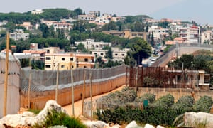 The concrete barrier along Israel's border with the southern Lebanese village of Kfar Kila