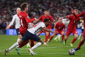 England's Raheem Sterling falls on the ground which led to the awarding of a penalty.