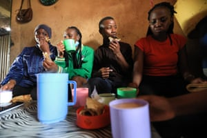 Members eat breakfast at a local restaurant in Nairobi