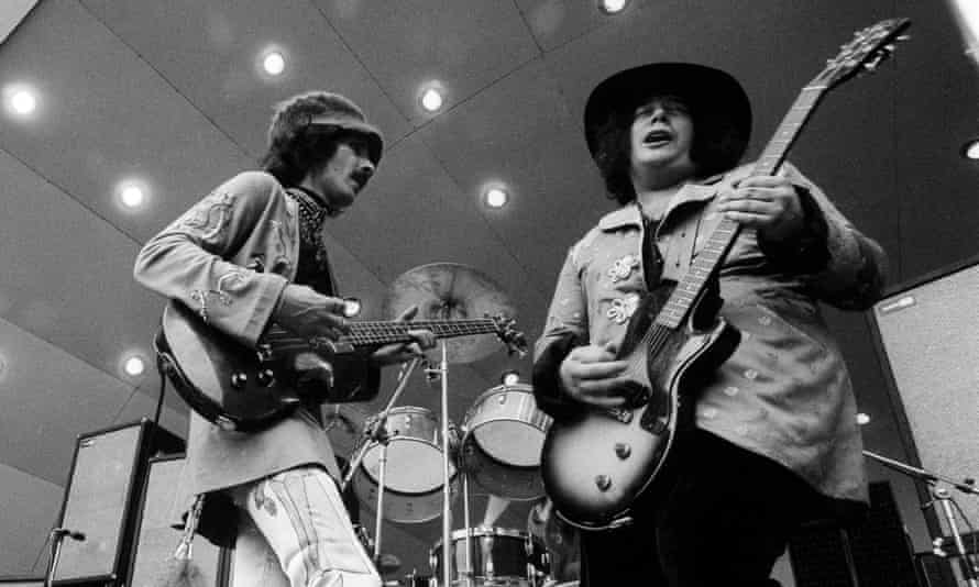 Leslie West, right, with Felix Pappalardi on stage at Crystal Palace in London in May 1971.
