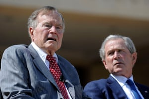 Former presidents George HW Bush and George W Bush have issued a joint statement condemning racial bigotry in a veiled rebuke of Donald Trump.