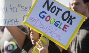 Workers protest against Google's handling of sexual misconduct allegations at the company's Mountain View, California, headquarters on 1 November 2018.