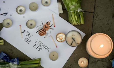 A bee features in a hand-drawn message left in Albert Square in Manchester after the 22 May terror attack.