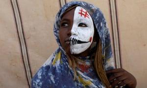 A young Sudanese protester in Khartoum.