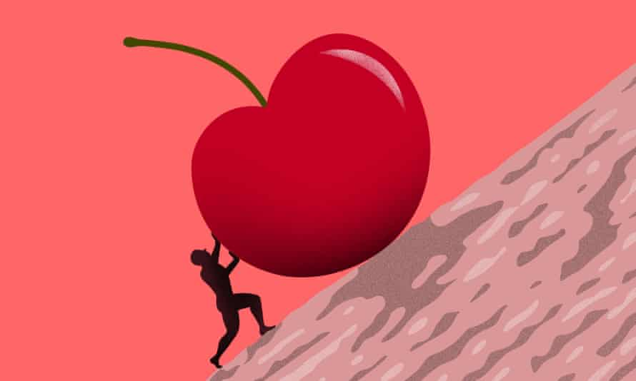 Illustration of male figure pushing a cherry