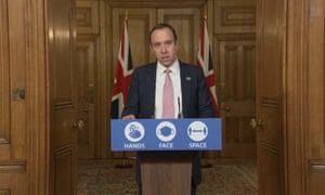 Matt Hancock addressing the media briefing in Downing Street.