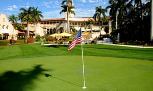 A golf course on the west lawn of the Mar-a-Lago estate, Palm Beach, Florida.