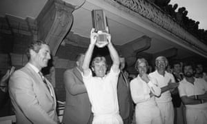 Derbyshire's captain Barry Wood holds aloft the NatWest trophy after their victory against Northamptonshire.