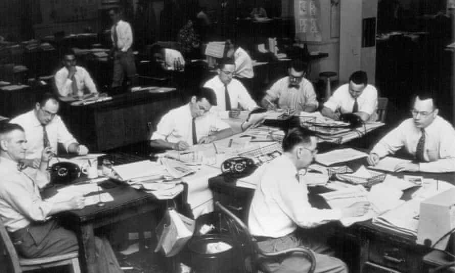 Men in the newsroom of the the Kansas City Star in Kansas City, Missouri, in an undated photo.