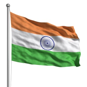 Flag of India. Rendered with fabric texture (visible at 100%). Clipping path included.<br>C4GEY3 Flag of India. Rendered with fabric texture (visible at 100%). Clipping path included.